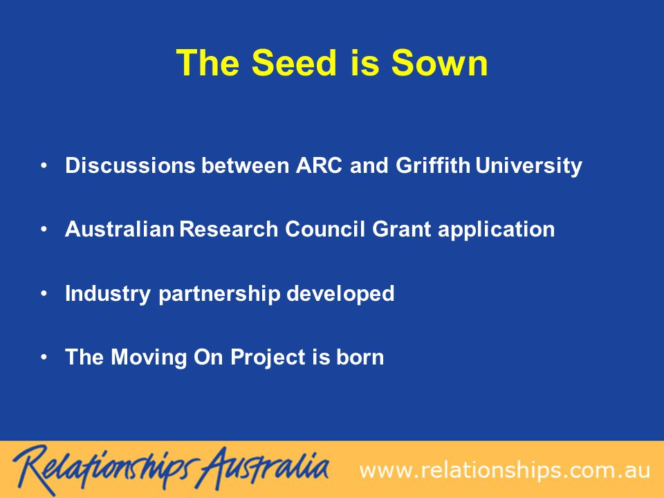The Seed is Sown Discussions between ARC and Griffith University Australian Research Council Grant application Industry partnership developed The Moving On Project is born