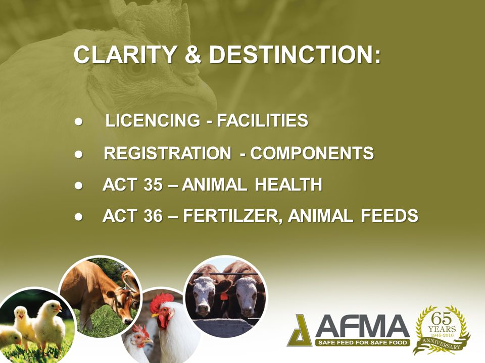 CLARITY & DESTINCTION: ● LICENCING - FACILITIES ● REGISTRATION - COMPONENTS ● ACT 35 – ANIMAL HEALTH ● ACT 36 – FERTILZER, ANIMAL FEEDS