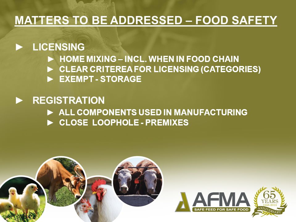 MATTERS TO BE ADDRESSED – FOOD SAFETY ► LICENSING ► HOME MIXING – INCL.
