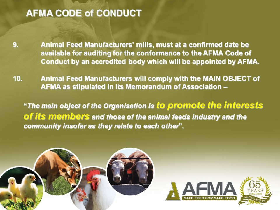 AFMA CODE of CONDUCT 9.