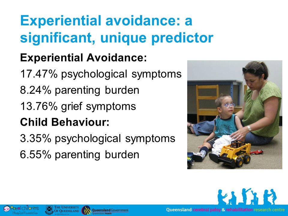 Experiential avoidance: a significant, unique predictor Experiential Avoidance: 17.47% psychological symptoms 8.24% parenting burden 13.76% grief symptoms Child Behaviour: 3.35% psychological symptoms 6.55% parenting burden
