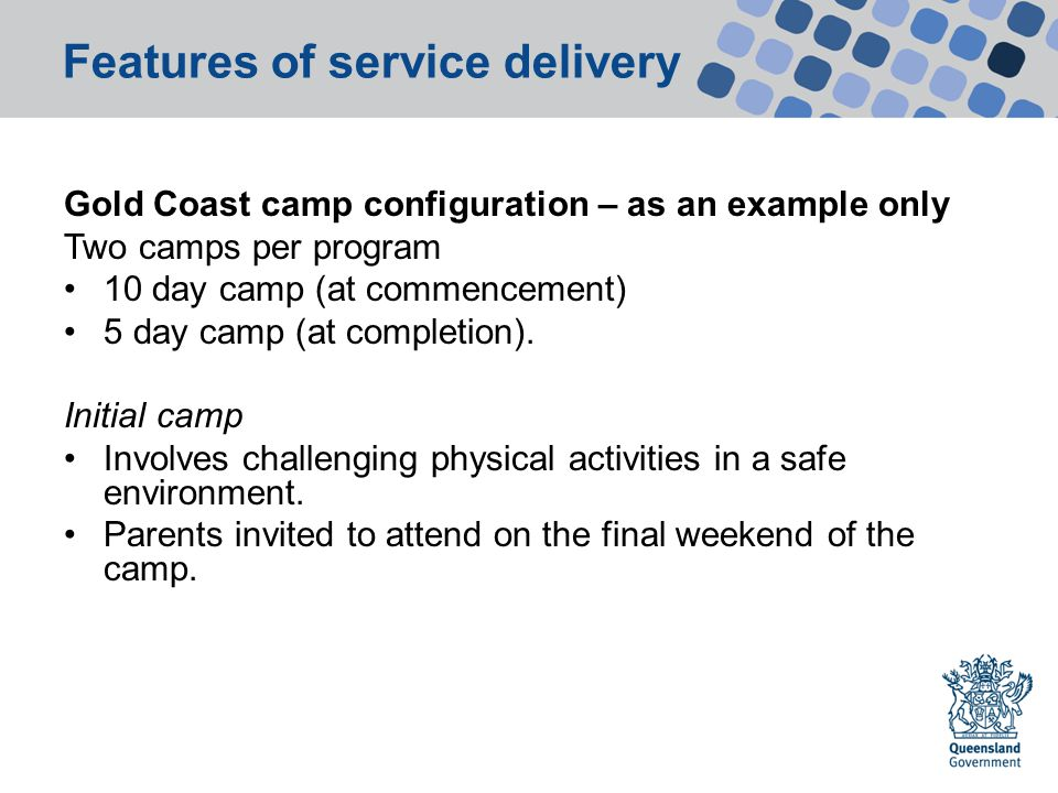 Features of service delivery Gold Coast camp configuration – as an example only Two camps per program 10 day camp (at commencement) 5 day camp (at completion).