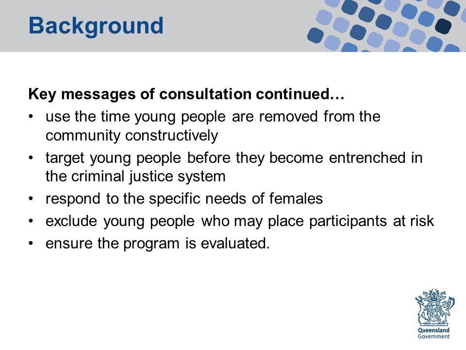 Background Key messages of consultation continued… use the time young people are removed from the community constructively target young people before they become entrenched in the criminal justice system respond to the specific needs of females exclude young people who may place participants at risk ensure the program is evaluated.