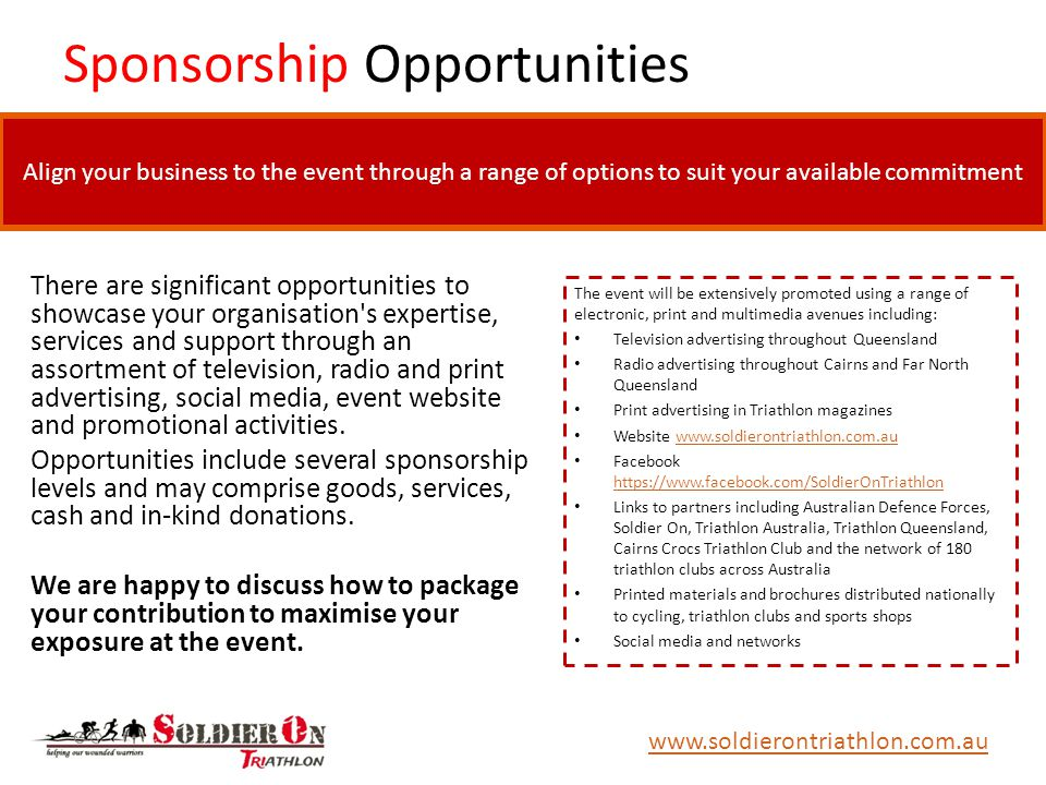 Sponsorship Opportunities There are significant opportunities to showcase your organisation s expertise, services and support through an assortment of television, radio and print advertising, social media, event website and promotional activities.