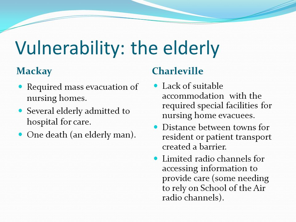 Vulnerability: the elderly Mackay Charleville Required mass evacuation of nursing homes.
