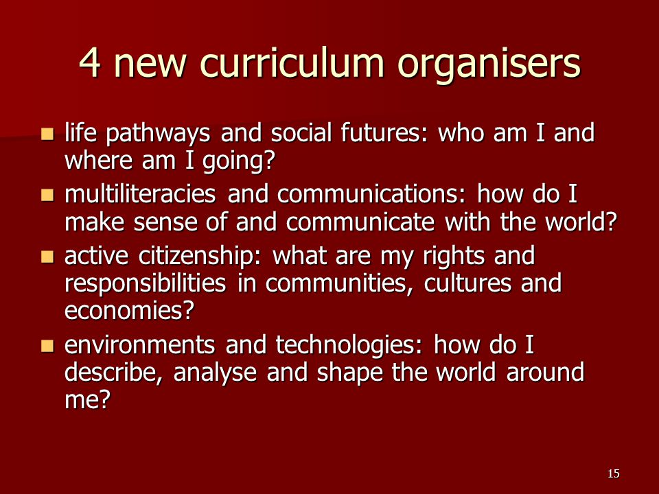 15 4 new curriculum organisers life pathways and social futures: who am I and where am I going.