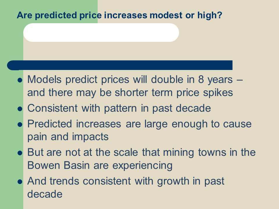 Are predicted price increases modest or high.