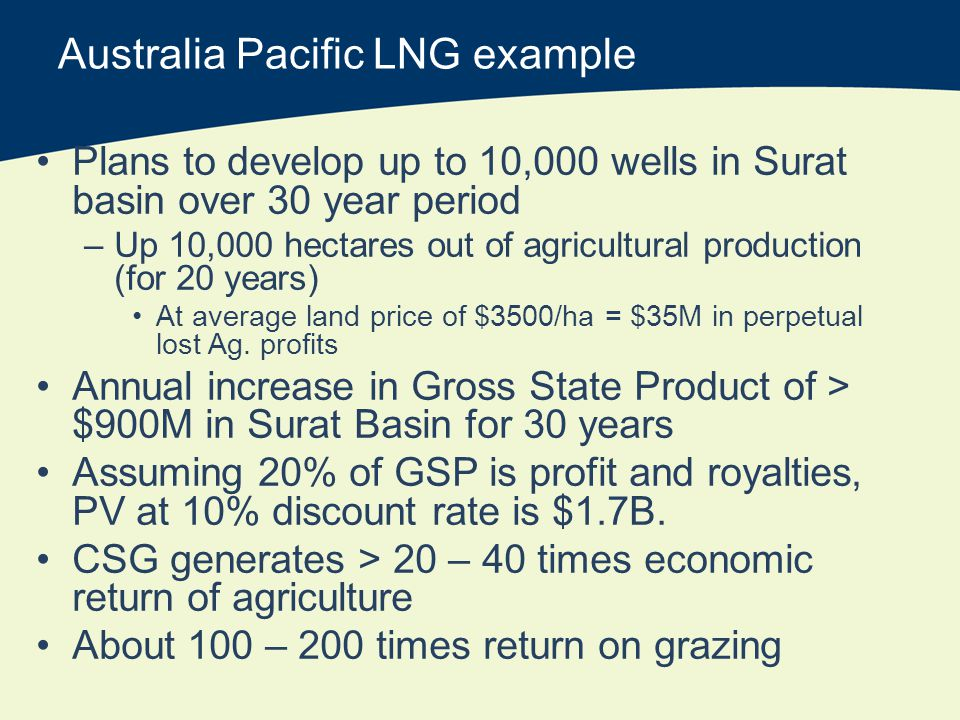 Australia Pacific LNG example Plans to develop up to 10,000 wells in Surat basin over 30 year period –Up 10,000 hectares out of agricultural production (for 20 years) At average land price of $3500/ha = $35M in perpetual lost Ag.
