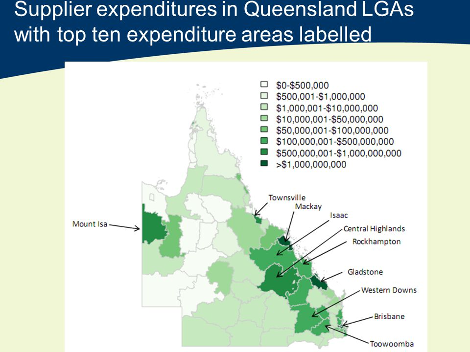 Supplier expenditures in Queensland LGAs with top ten expenditure areas labelled