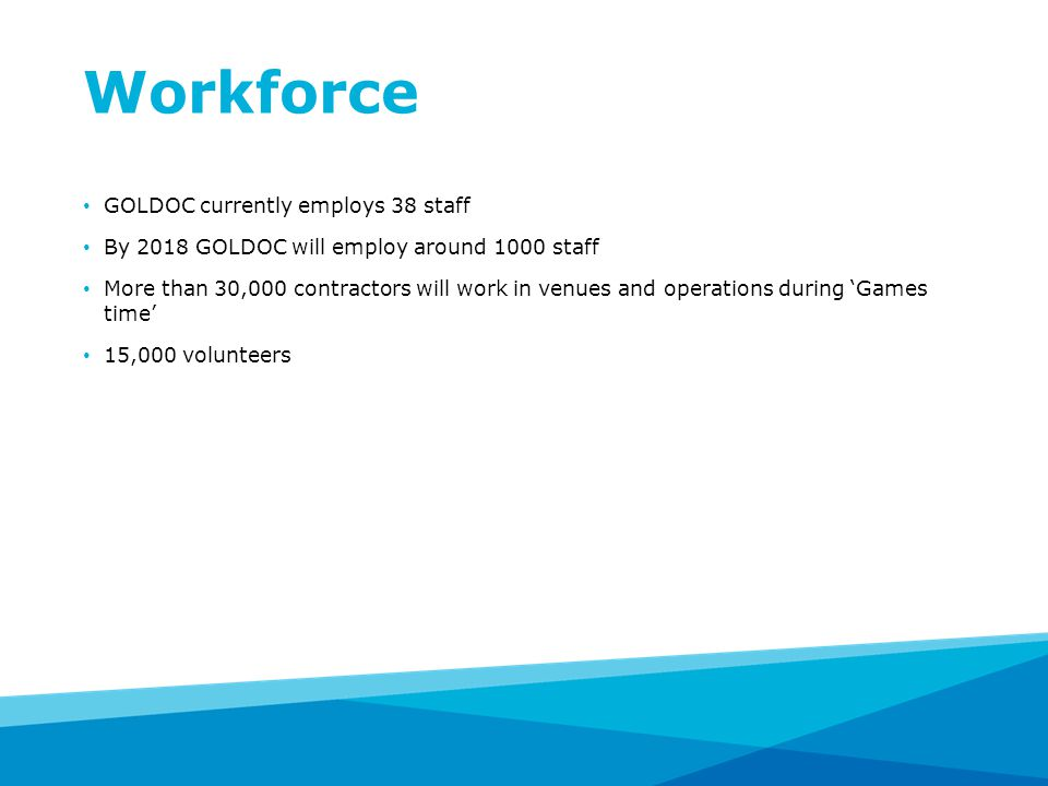 Workforce GOLDOC currently employs 38 staff By 2018 GOLDOC will employ around 1000 staff More than 30,000 contractors will work in venues and operations during 'Games time' 15,000 volunteers
