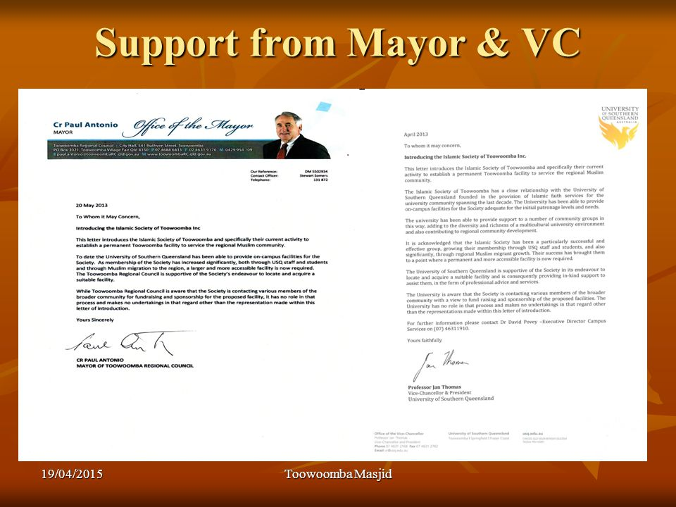 Support from Mayor & VC 19/04/2015Toowoomba Masjid