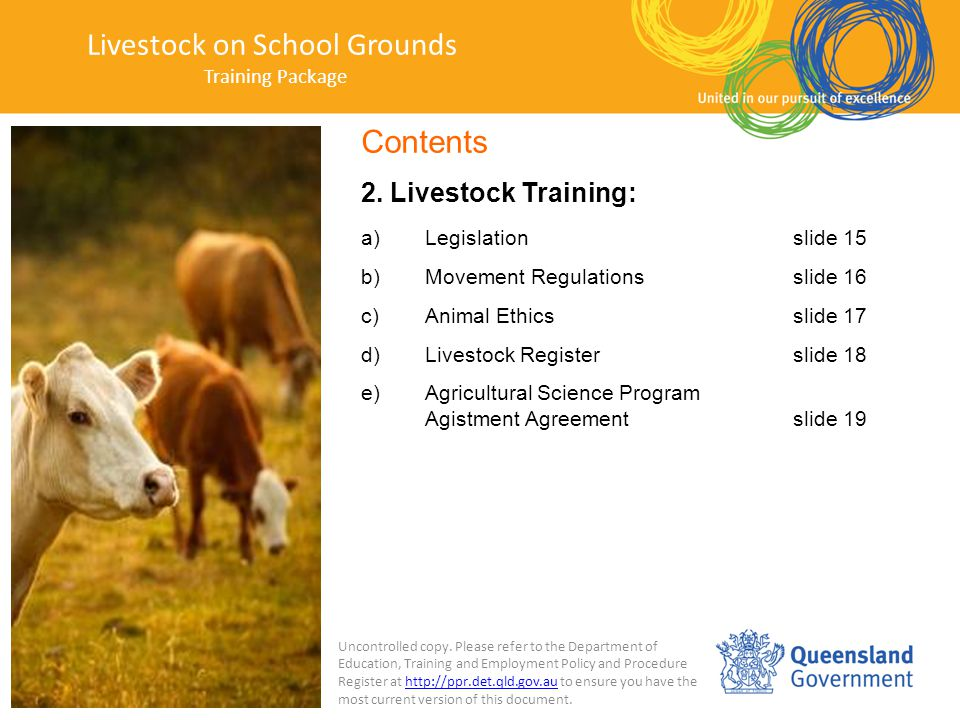 Livestock on School Grounds Training Package 2.