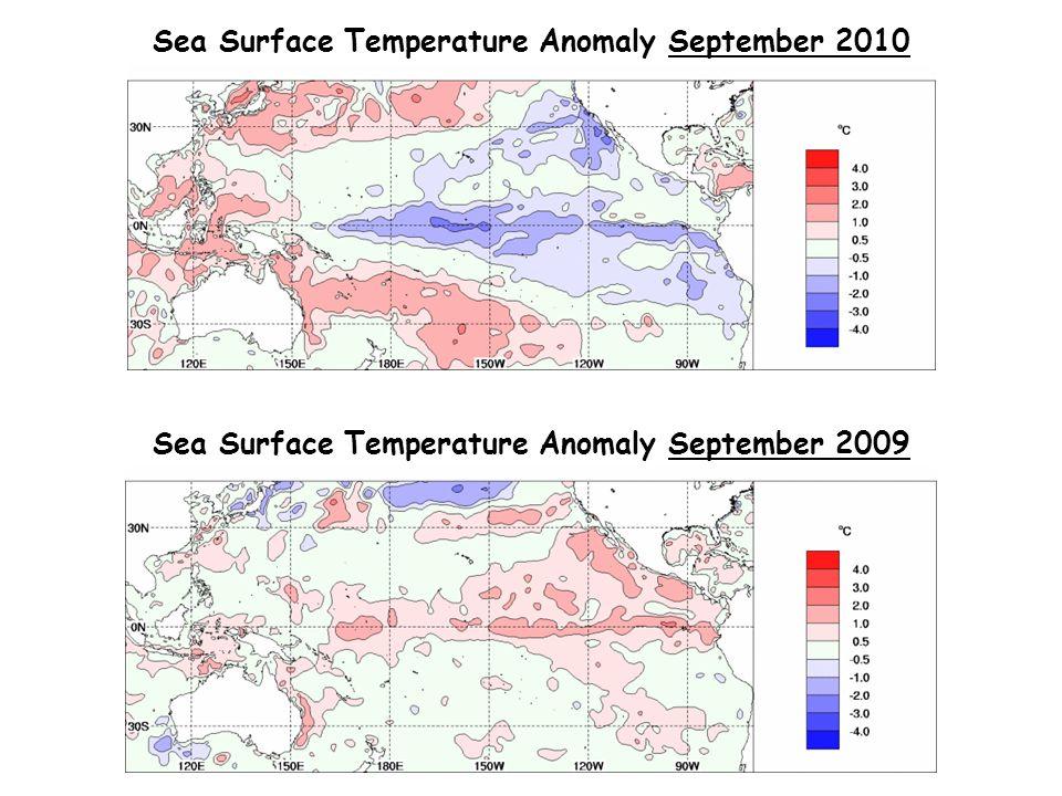 Sea Surface Temperature Anomaly September 2010 Sea Surface Temperature Anomaly September 2009