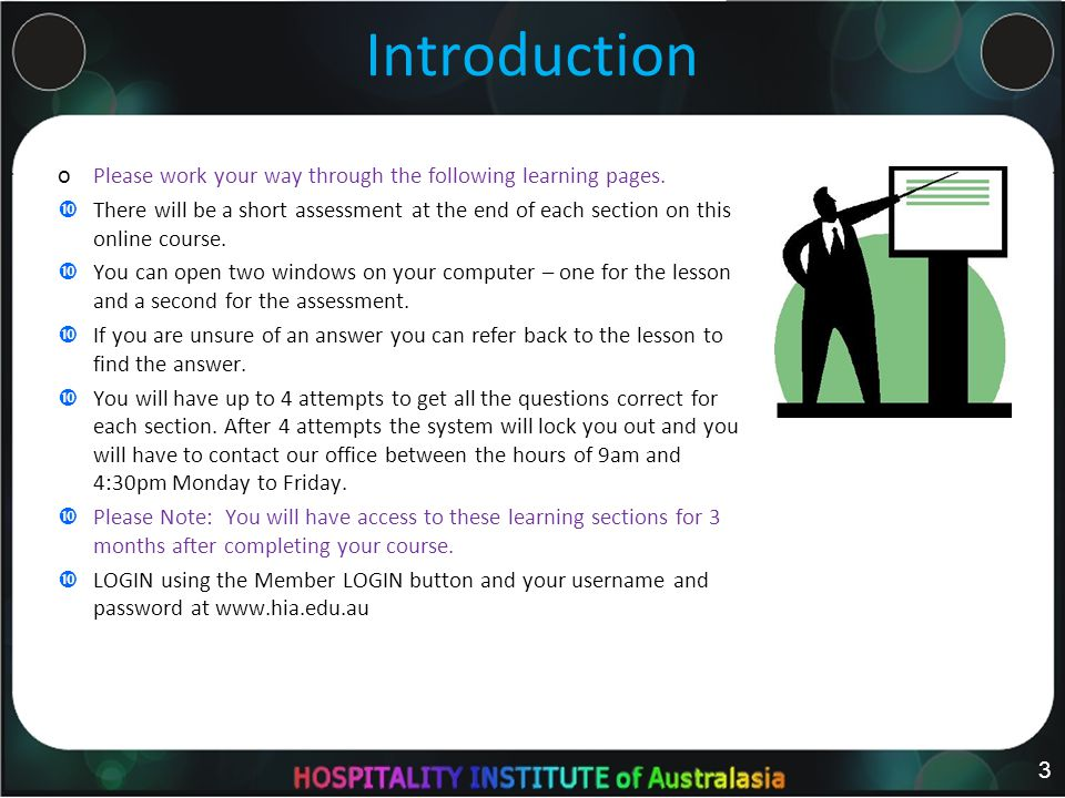 Introduction o Please work your way through the following learning pages.