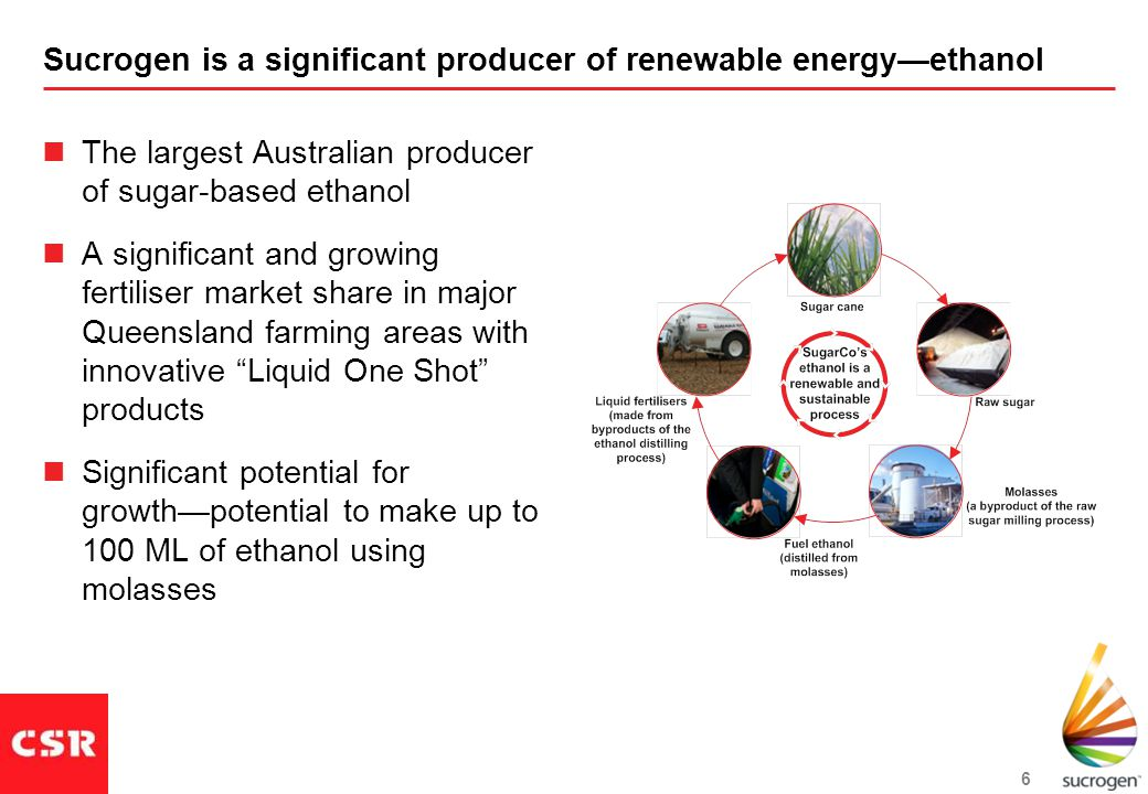 6 Sucrogen is a significant producer of renewable energy—ethanol The largest Australian producer of sugar-based ethanol A significant and growing fertiliser market share in major Queensland farming areas with innovative Liquid One Shot products Significant potential for growth—potential to make up to 100 ML of ethanol using molasses
