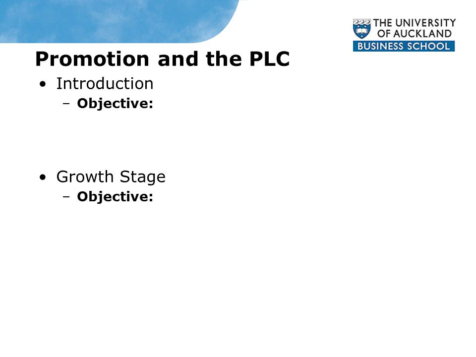 Promotion and the PLC Introduction –Objective: Growth Stage –Objective: