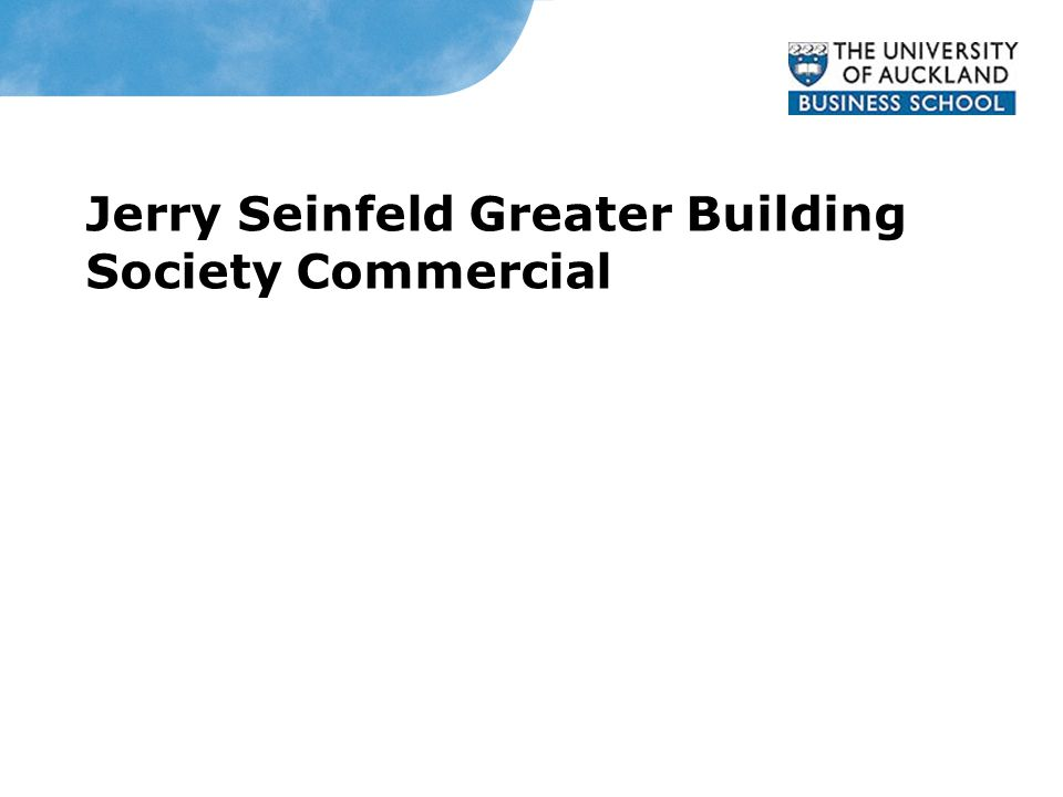 Greater Building Society Jerry Seinfeld Greater Building Society Commercial