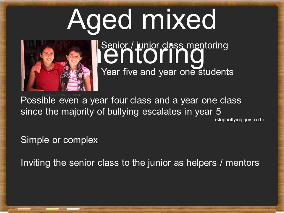 Aged mixed mentoring Senior / junior class mentoring Year five and year one students Possible even a year four class and a year one class since the ma