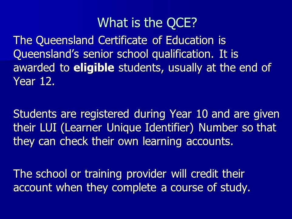 What is the QCE.
