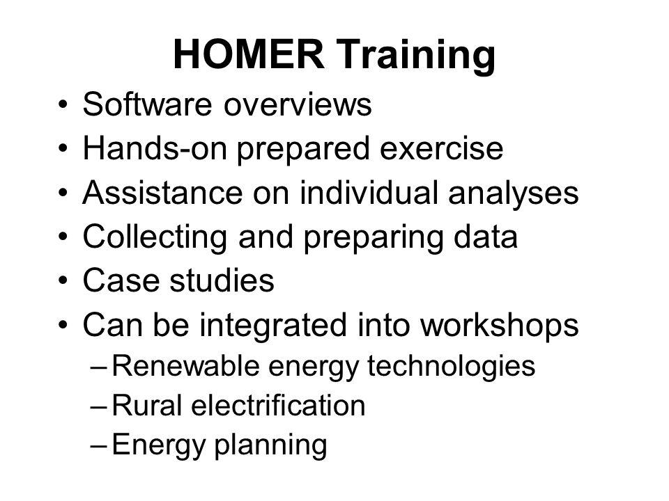 HOMER Training Workshops since 2004 Afghanistan Renewable Energy for Rural Electrification Workshop.