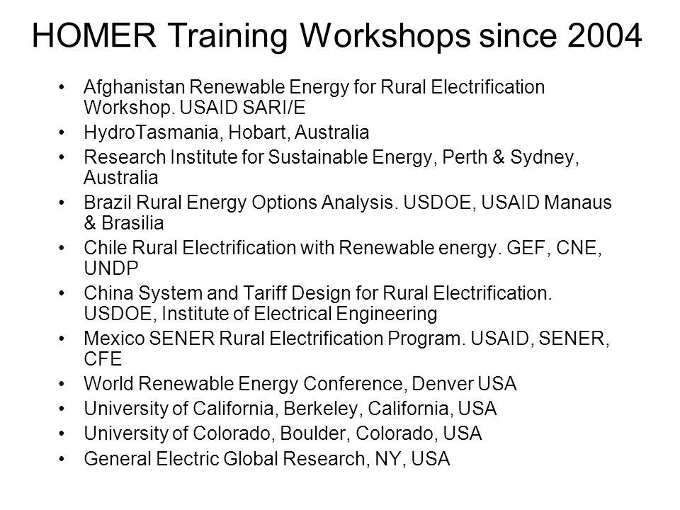 HOMER Training Workshops since 2004 Afghanistan Renewable Energy for Rural Electrification Workshop. USAID SARI/E HydroTasmania, Hobart, Australia Res