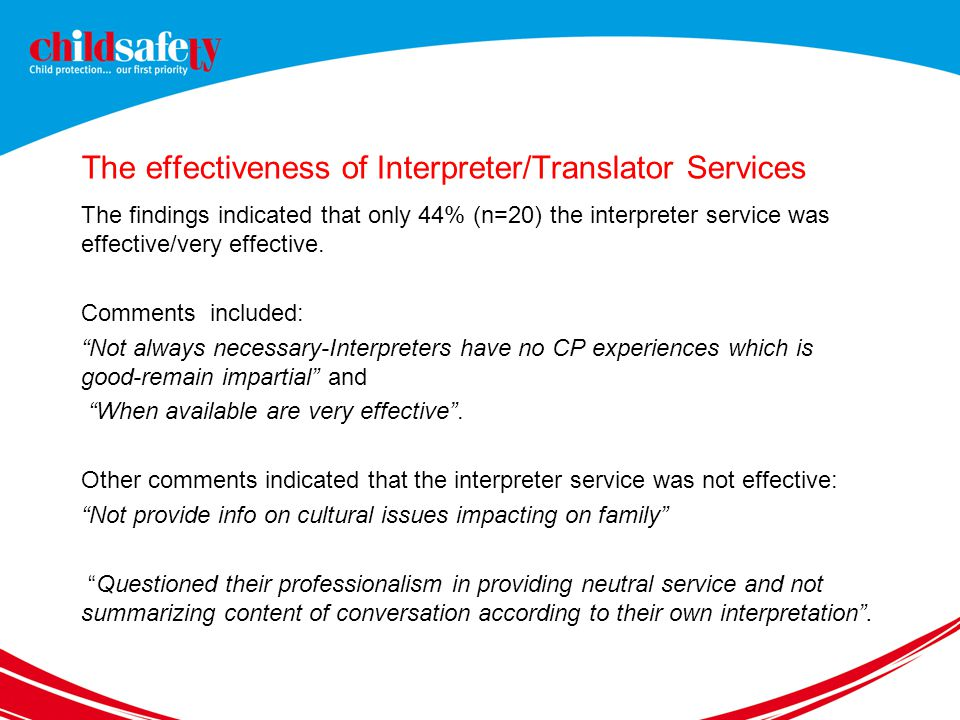 The effectiveness of Interpreter/Translator Services The findings indicated that only 44% (n=20) the interpreter service was effective/very effective.