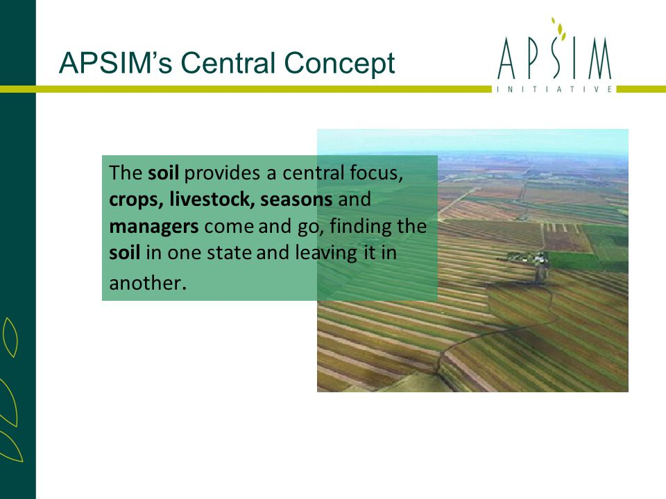 APSIM's Central Concept The soil provides a central focus, crops, livestock, seasons and managers come and go, finding the soil in one state and leaving it in another.
