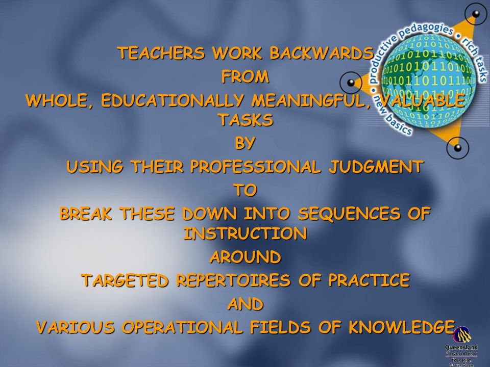 TEACHERS WORK BACKWARDS FROM WHOLE, EDUCATIONALLY MEANINGFUL, VALUABLE TASKS BY USING THEIR PROFESSIONAL JUDGMENT TO BREAK THESE DOWN INTO SEQUENCES OF INSTRUCTION AROUND TARGETED REPERTOIRES OF PRACTICE AND VARIOUS OPERATIONAL FIELDS OF KNOWLEDGE