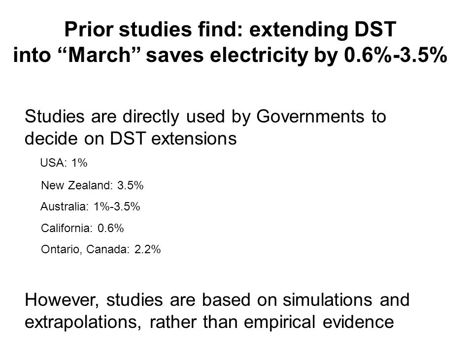 """Prior studies find: extending DST into """"March"""" saves electricity by 0.6%-3.5% Studies are directly used by Governments to decide on DST extensions USA"""