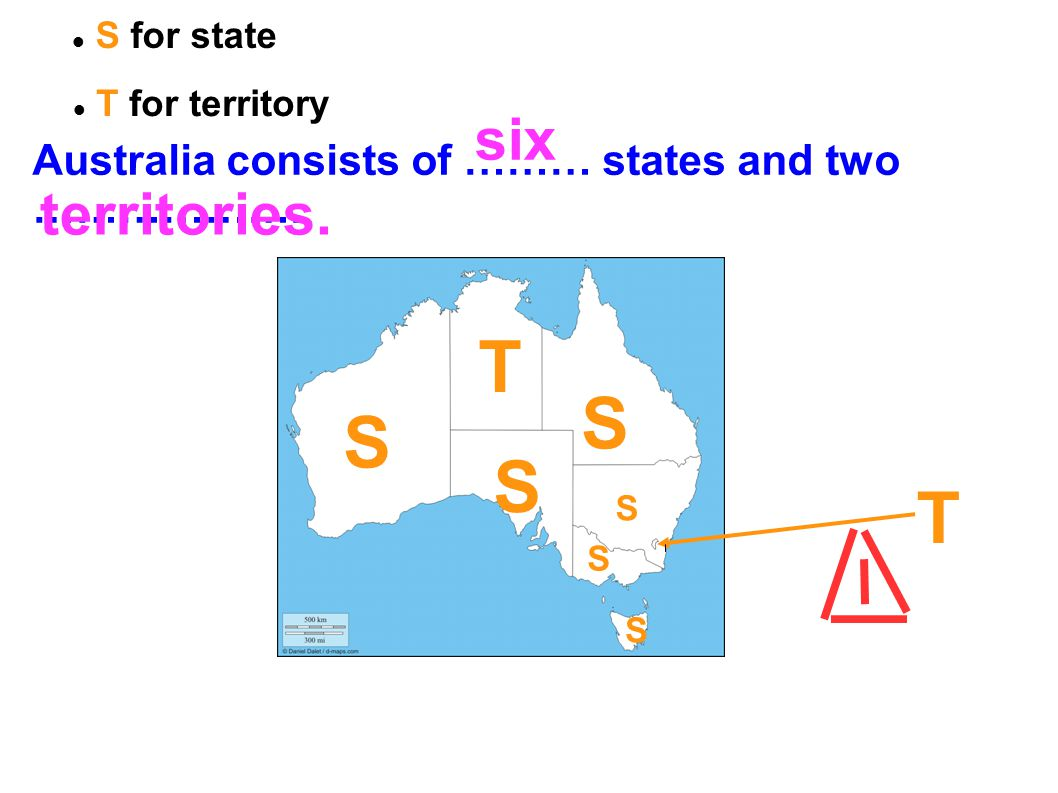 Australia consists of ……… states and two ………………. S for state T for territory six territories. T T S S S S S S