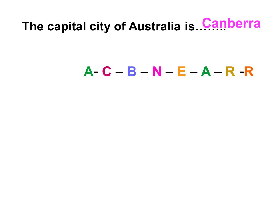 The capital city of Australia is…….. A- C – B – N – E – A – R -R Canberra
