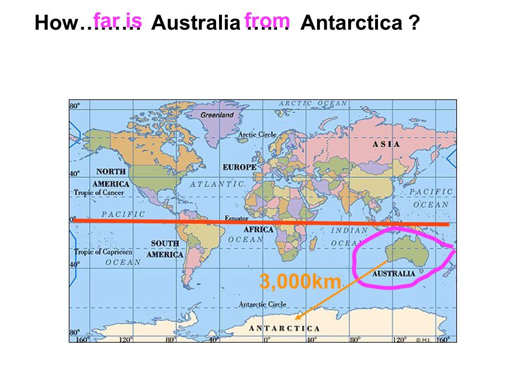 3,000km How……… Australia …... Antarctica ? far isfrom