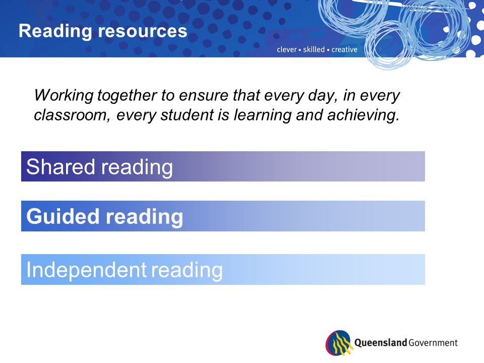 Guided reading: is a teacher-directed activity for small groups of students uses texts at the student's instructional level to provide the necessary support and challenges during the lesson involves intensive teaching, with the teacher supporting students as they talk, read and think their way through a text involves students practising strategies that will enable them to read independently.