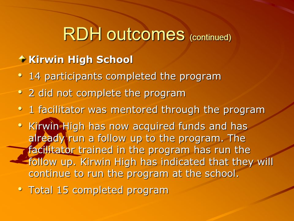 RDH outcomes (continued) Kirwin High School 14 participants completed the program 14 participants completed the program 2 did not complete the program