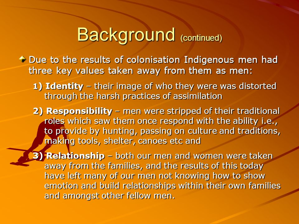 Background (continued) Red Dust Healing is written from an Indigenous perspective for Indigenous Men and their families.