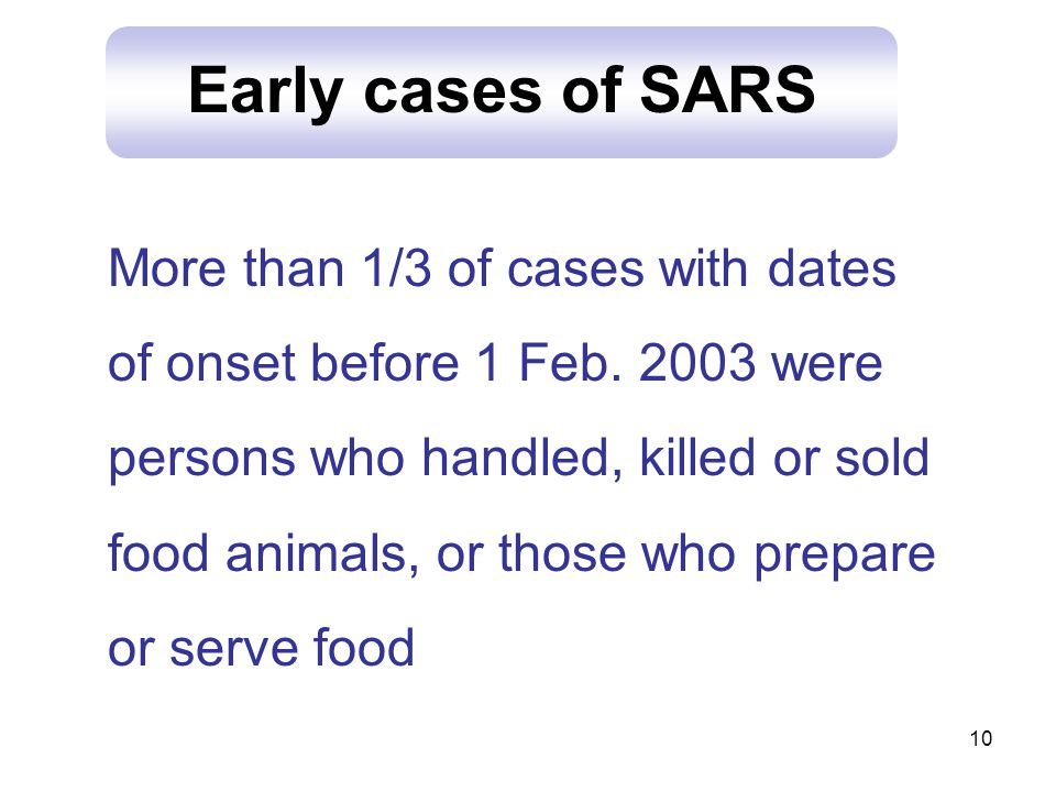 10 Early cases of SARS More than 1/3 of cases with dates of onset before 1 Feb.