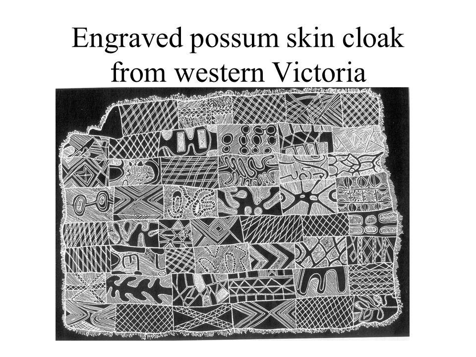 Engraved possum skin cloak from western Victoria