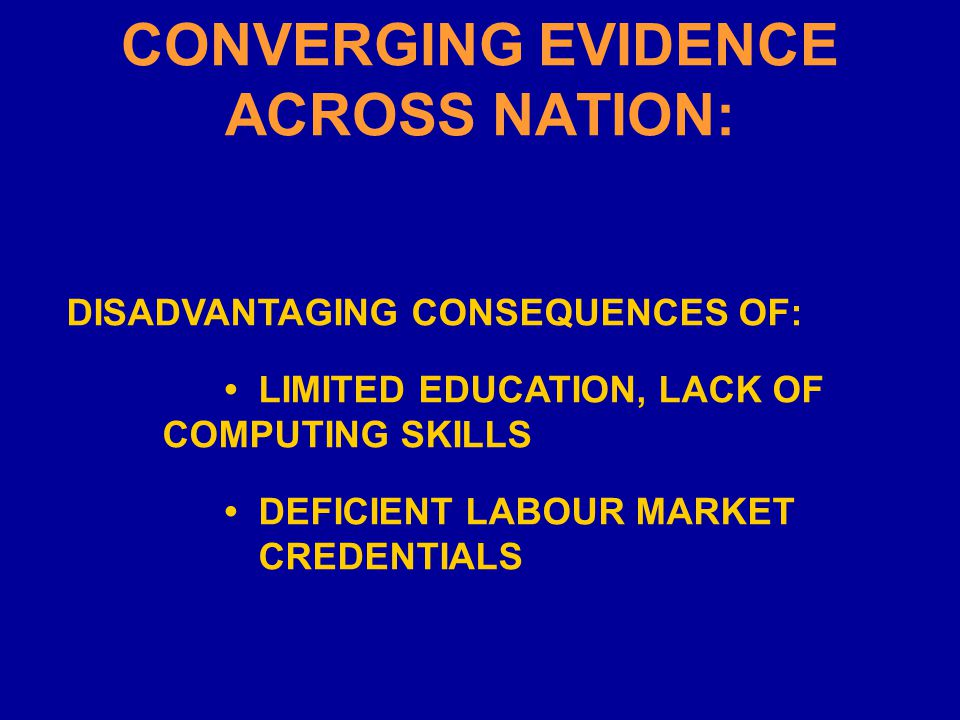 CONVERGING EVIDENCE ACROSS NATION: DISADVANTAGING CONSEQUENCES OF: LIMITED EDUCATION, LACK OF COMPUTING SKILLS DEFICIENT LABOUR MARKET CREDENTIALS