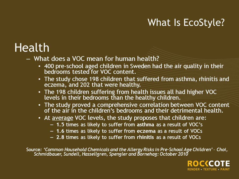 Health – What does a VOC mean for human health.