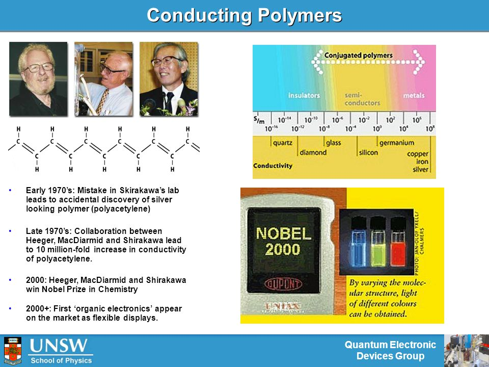 Quantum Electronic Devices Group Conducting Polymers Early 1970's: Mistake in Skirakawa's lab leads to accidental discovery of silver looking polymer (polyacetylene) 2000: Heeger, MacDiarmid and Shirakawa win Nobel Prize in Chemistry Late 1970's: Collaboration between Heeger, MacDiarmid and Shirakawa lead to 10 million-fold increase in conductivity of polyacetylene.