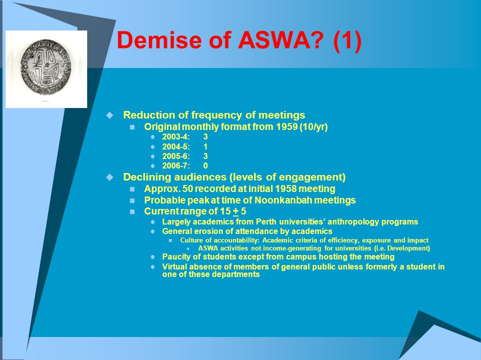 Demise of ASWA? (1)  Reduction of frequency of meetings Original monthly format from 1959 (10/yr) 2003-4: 3 2004-5: 1 2005-6: 3 2006-7: 0  Declining