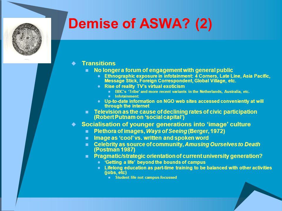 Demise of ASWA.