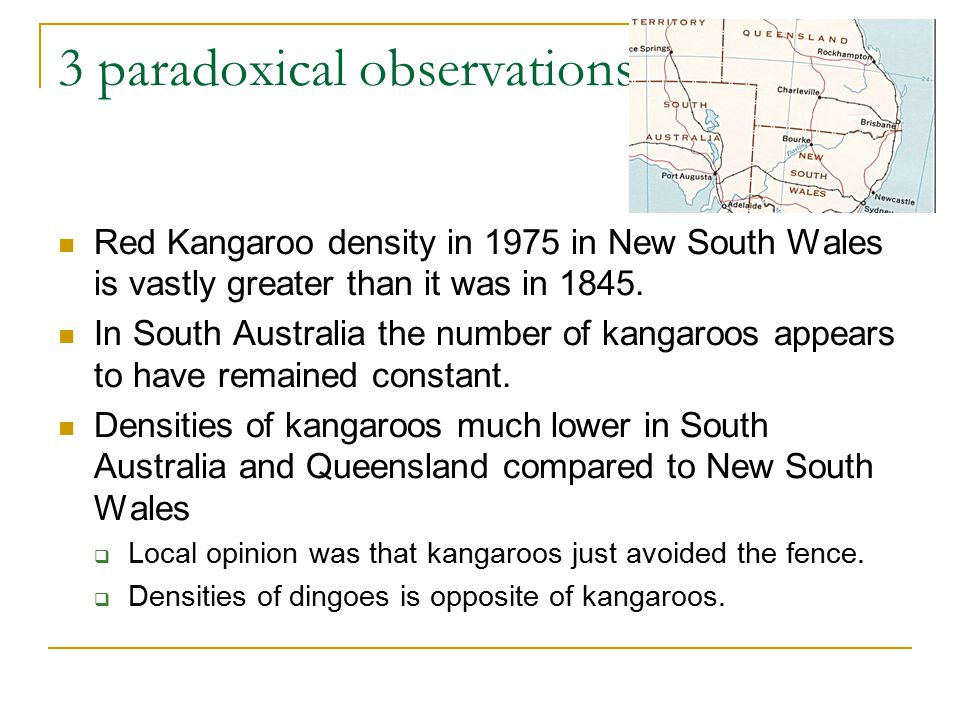 3 paradoxical observations Red Kangaroo density in 1975 in New South Wales is vastly greater than it was in 1845.