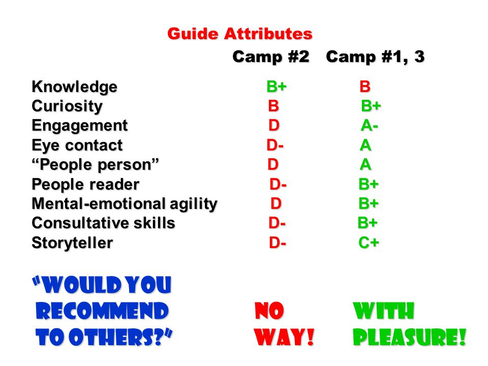 Guide Attributes Camp #2 Camp #1, 3 Knowledge B+ B Curiosity B B+ Engagement D A- Eye contact D- A People person D A People reader D- B+ Mental-emotional agility D B+ Consultative skills D- B+ Storyteller D- C+ Would you recommend NO With to others? Way.
