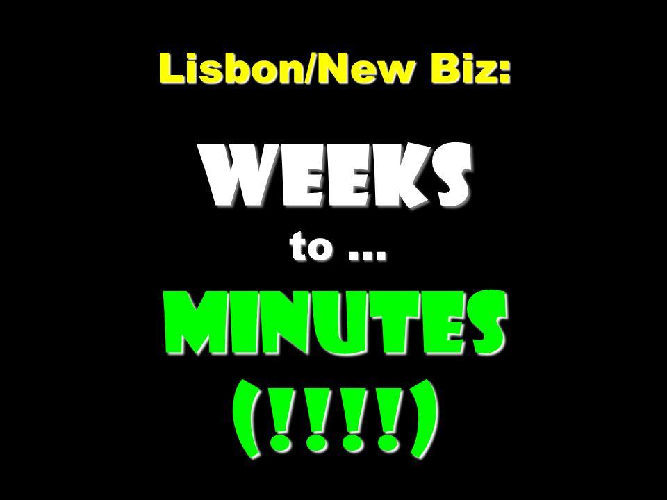 Lisbon/New Biz: Weeks to … Minutes (!!!!) Lisbon/New Biz: Weeks to … Minutes (!!!!)