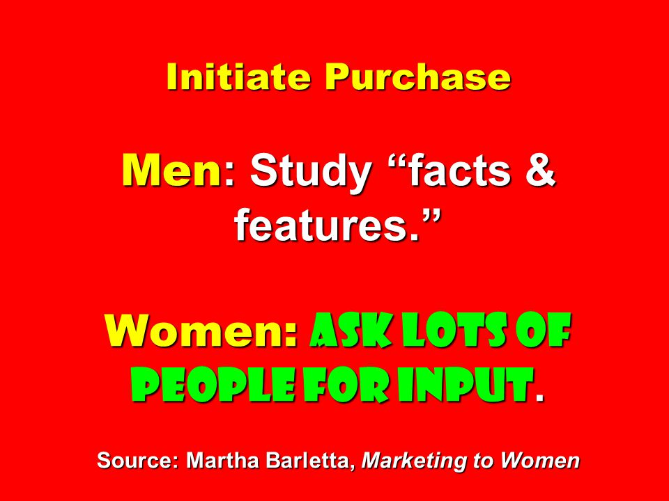 """Initiate Purchase Men : Study """"facts & features."""" Women: Ask lots of people for input. Source: Martha Barletta, Marketing to Women"""