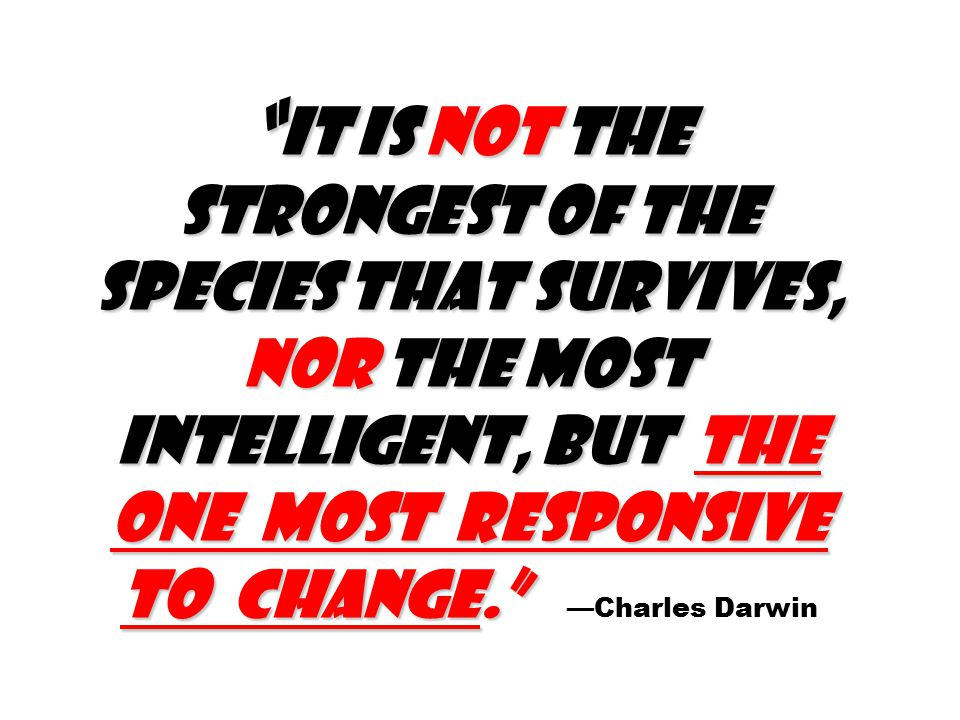 It is not the strongest of the species that survives, nor the most intelligent, but the one most responsive to change. It is not the strongest of the species that survives, nor the most intelligent, but the one most responsive to change. —Charles Darwin