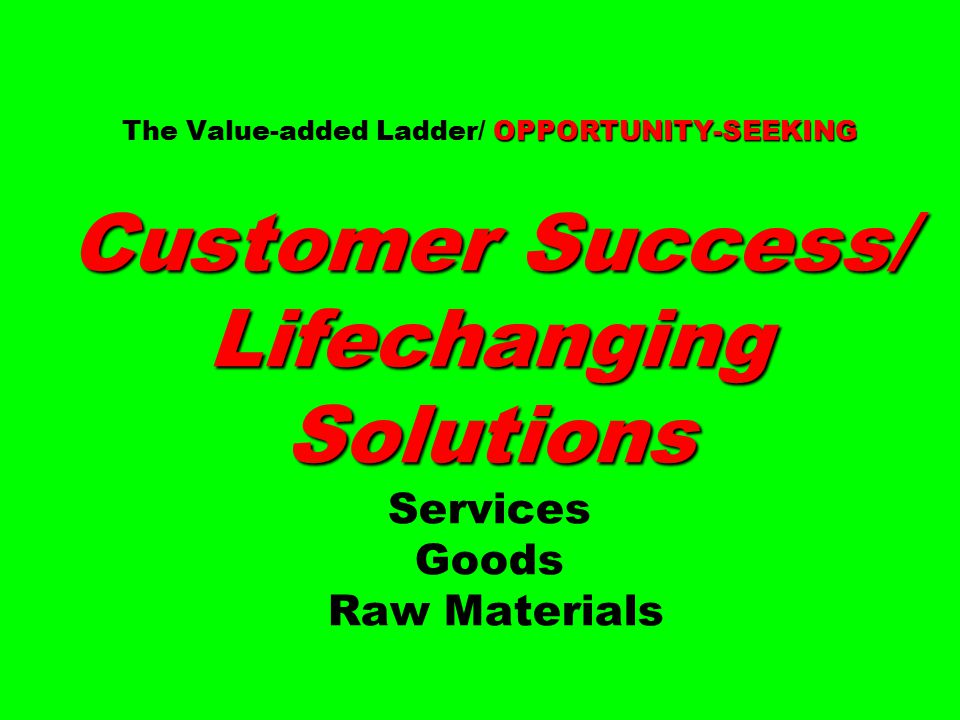 OPPORTUNITY-SEEKING Customer Success/ Lifechanging Solutions The Value-added Ladder/ OPPORTUNITY-SEEKING Customer Success/ Lifechanging Solutions Serv