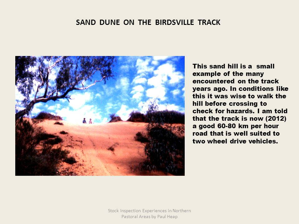 This sand hill is a small example of the many encountered on the track years ago.