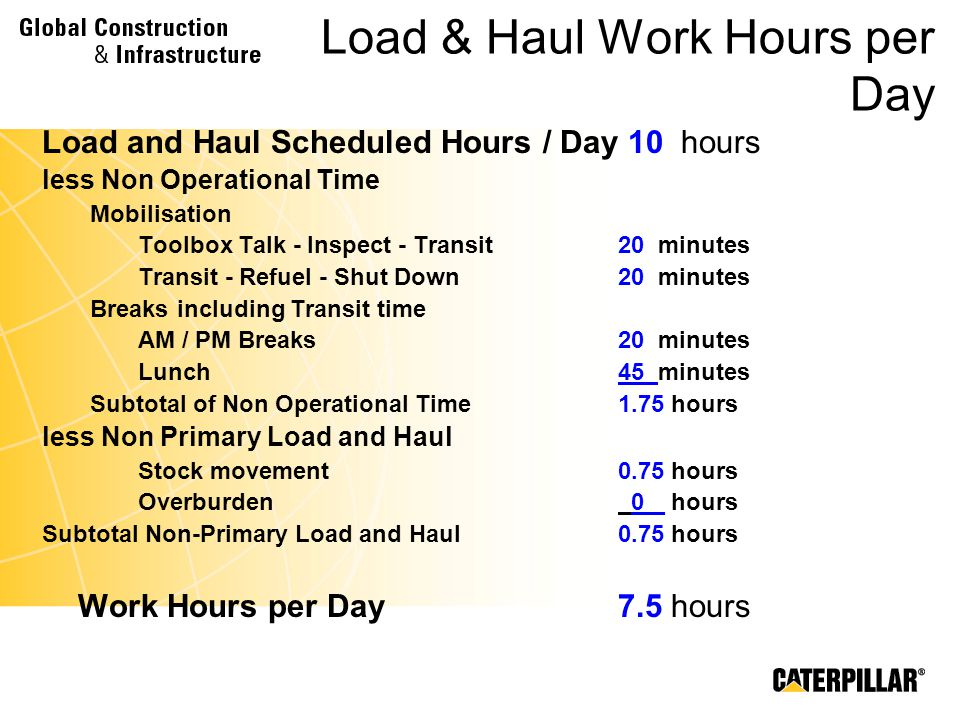 Load and Haul Scheduled Hours / Day 10 hours less Non Operational Time Mobilisation Toolbox Talk - Inspect - Transit 20 minutes Transit - Refuel - Shu